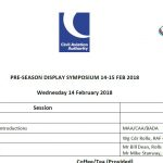 Agenda for Pre-season Air Display Flying and Training symposium 2018