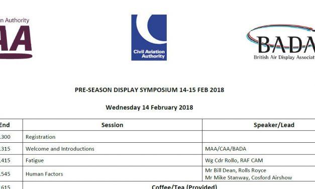 Agenda for Pre-season Air Display Flying and Training symposium 2018